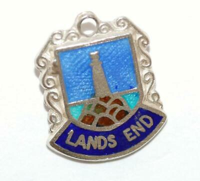 Land's End Lighthouse Sterling Silver 925 Enamel Travel Shield Vintage Charm