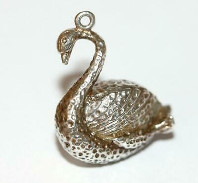 Rare Large Swan Sterling Silver Vintage Charm Pendant Signed CT London