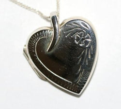 "Vintage Sterling Silver Flower Heart Locket Pendant Necklace 18"" Chain"