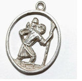 "Chim Saint Christopher Sterling Silver Vintage Bracelet Charm 1"" Long"