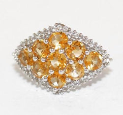 Beautiful Sterling Silver Yellow Citrine & White Topaz Cluster Ring Signed TGGC