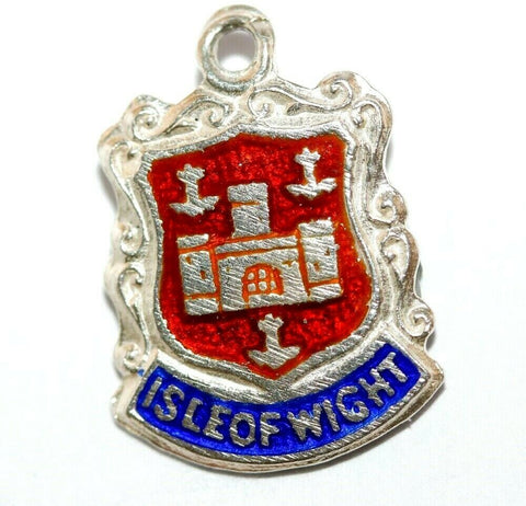 Isle Of Wight England Sterling Silver Enamel Travel Shield Vintage Charm 1.2g