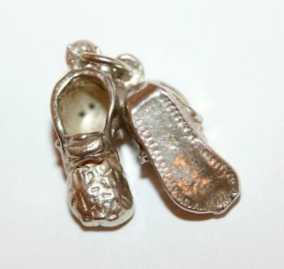 Baby Booties Shoes With Flower Detail Sterling Silver Vintage Bracelet Charm 5g