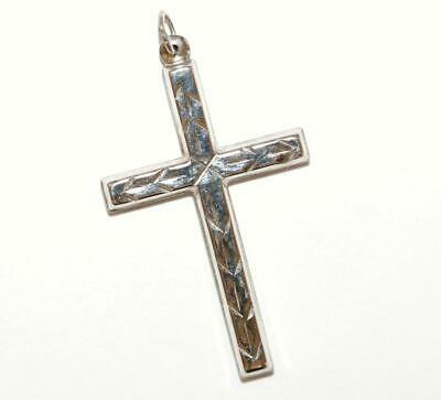 Cross With Design Sterling Silver Vintage Charm Pendant With Gift Box, 1.25""