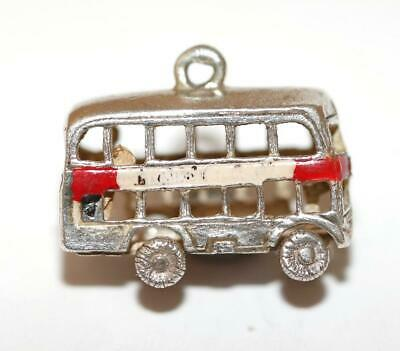 Moving Double Decker Tourist Bus Sterling Silver Enamel Vintage Bracelet Charm
