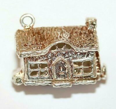 Cottage Opening To Bed Sterling Silver Vintage Bracelet Charm, Larger 6.7g