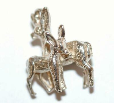 3d Deer And Fawn Sterling Silver Vintage Bracelet Charm With Gift Box 1.8g