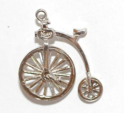 Nuvo Moving Big Wheel Bicycle Sterling Silver Vintage Bracelet Charm 2g