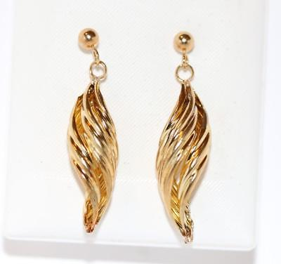 9k Yellow Gold Ribbon Dangle Earrings For Pierced Ears