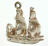 Galleon Sailing Ship Sterling Silver Vintage Bracelet Charm With Gift Box 2.7g