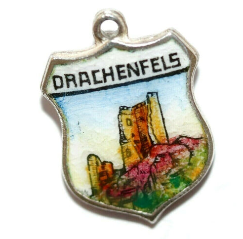 Castle Ruins Drachenfels Germany 835 Silver Enamel Travel Shield Vintage Charm