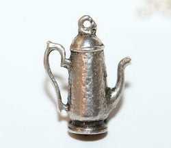 Tall Teapot Sterling Silver Vintage Bracelet Charm With Gift Box, c.1940s