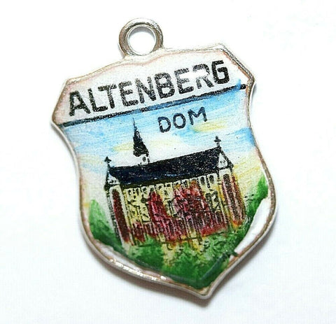 Altenberg Dom Germany 833 Silver Enamel Travel Shield Vintage Bracelet Charm