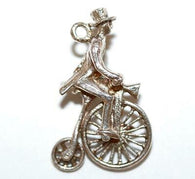 Rare Nuvo Man Riding A Bicycle Sterling Silver Vintage Charm