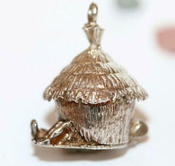 Rare Vintage Grass Hut Opening To Sweethearts Sterling Silver Charm