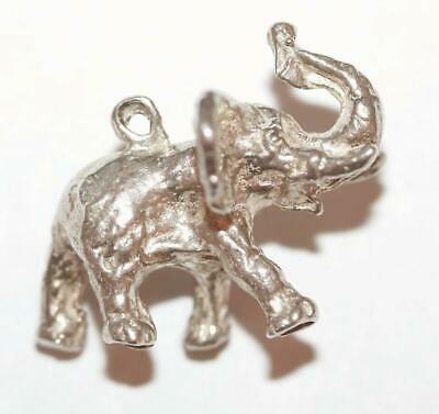 Trunk Up Lucky Elephant Sterling Silver 925 Vintage Bracelet Charm 5.6g