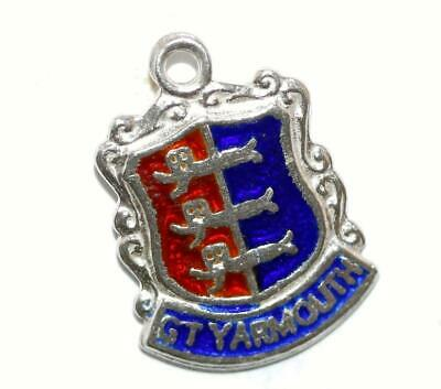 Great Yarmouth England Sterling Silver Enamel Travel Shield Vintage Charm 1.1g