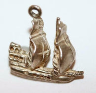 Small Galleon Sailing Ship With Cross On Sail Sterling Silver Vintage Charm