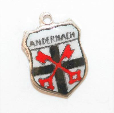 Andernach Germany 800 Silver Enamel Travel Shield Vintage Bracelet Charm