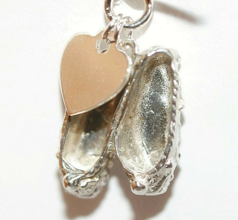 Dancing Shoes And Heart Sterling Silver Bracelet Charm With Gift Box 4.1g