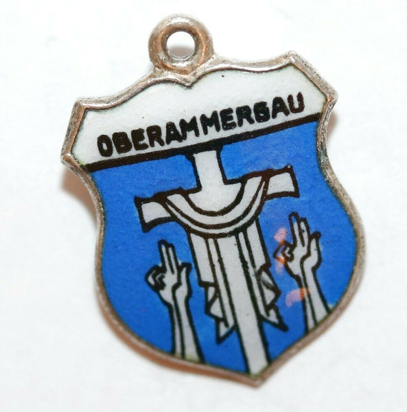 Vintage Oberammergau Germany Cross 800 Silver Enamel Shield Charm by KFK