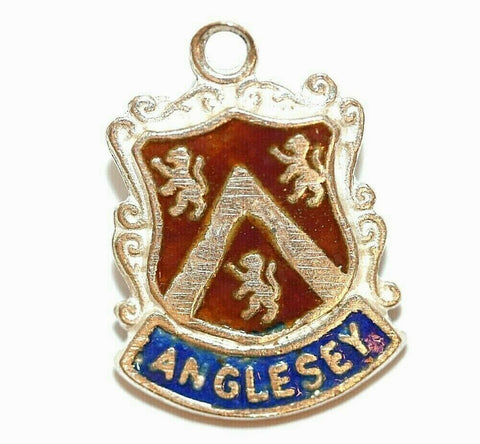 Anglesey Island in Wales Sterling Silver Enamel Travel Shield Vintage Charm, WBS