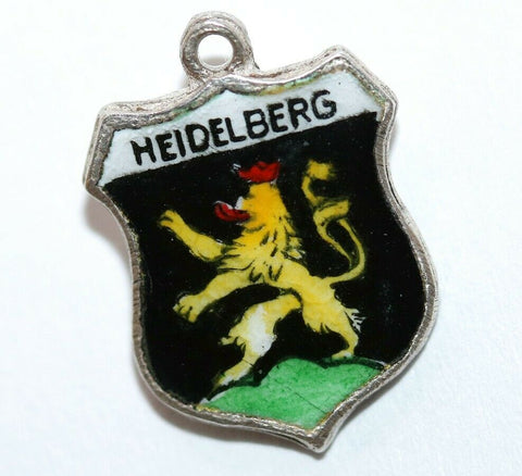 Heidelberg Germany 835 Silver Enamel Travel Shield Vintage Charm 1.4g
