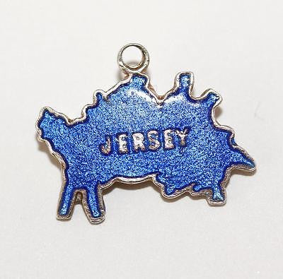 Jersey Island England Travel Map Blue Enamel Sterling Silver Vintage Charm 1.2g