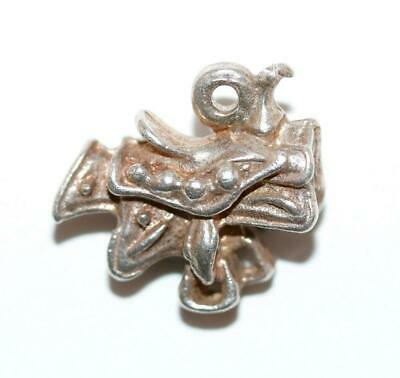 Western Horse Saddle Sterling Silver Vintage Bracelet Charm With Gift Box 2.7g