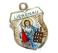 Liebenau Germany 800 Silver Enamel Travel Shield Vintage Charm by REU