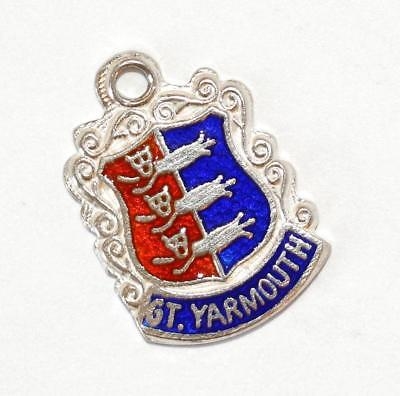 GT Yarmouth England Sterling Silver Enamel Shield Vintage Bracelet Charm 1.5g