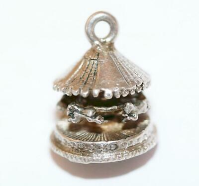 Chim Moving Carousel With Horses Sterling Silver Vintage Charm With Gift Box 3g