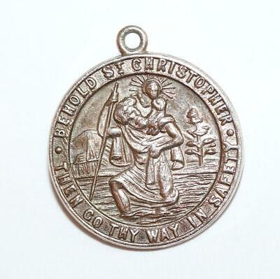 "St Christopher ""Go Thy Way In Safety"" Sterling Silver Vintage Charm Pendant"