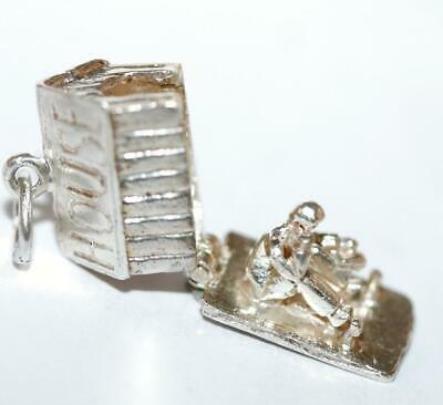 Man In Opening Dog House Sterling Silver Vintage Bracelet Charm 3.7g