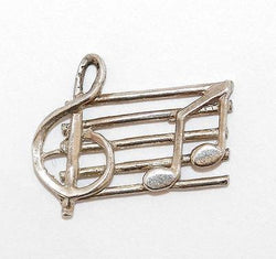 Music Bar With Notes Sterling Silver Vintage Bracelet Charm