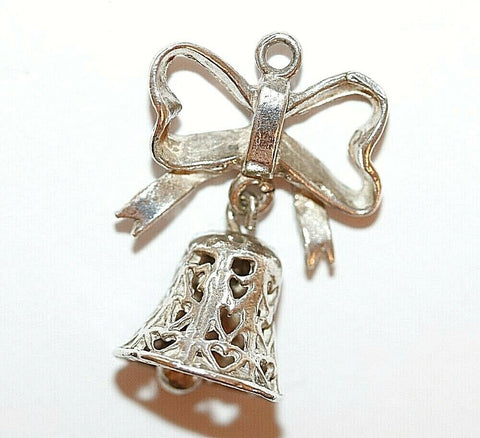 Moving Wedding Anniversary Bell That Rings Sterling Silver Vintage Charm 3.7g