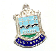 Southport England Sterling Silver Enamel Travel Shield Vintage Charm With Box