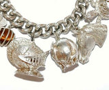 Heavy Vintage Sterling Silver Padlock Charm Bracelet, Rare Massive Charms by FM