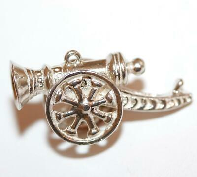 Moving Cannon Gun  Sterling Silver Vintage Bracelet Charm