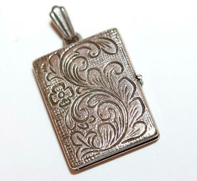 "Vintage Sterling Silver Etched Rectangle Locket Pendant, 1"" Long, 9g"
