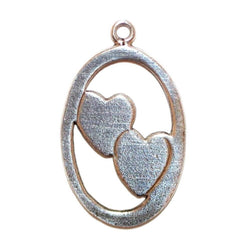 Two Hearts Sterling Silver Vintage Bracelet Charm Pendant 1.5g