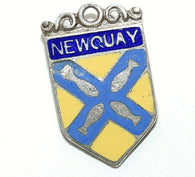 Newquay England Sterling Silver Enamel Travel Shield Vintage Charm by D&F