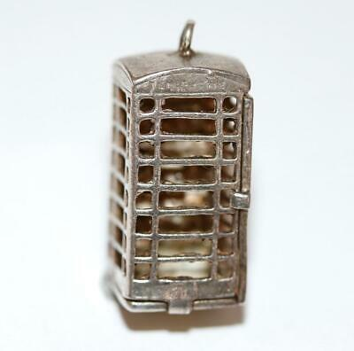 Rare Nuvo Opening Telephone Booth Sterling Silver Vintage Bracelet Charm XL 9.3g