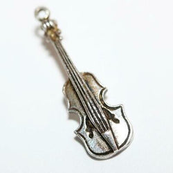 Violin Musical Instrument 800 Silver Vintage Bracelet Charm With Gift Box 1.9g