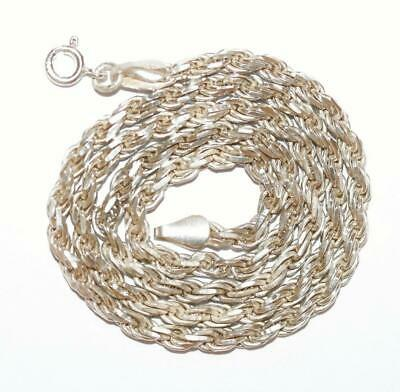 "18"" Rope Chain Necklace 3.5mm Sterling Silver Signed RJ 925, Men's Women's 19g"