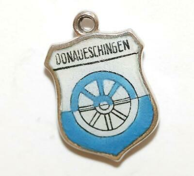 Vintage Donaueschingen Germany 800 Silver Enamel Travel Shield Bracelet Charm