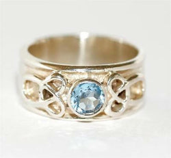 Ladies Sterling Silver 925 Blue Topaz Celtic Knot Ring, Size 8.5