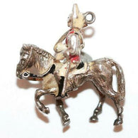 British Royal Horse Guard Sterling Silver Enamel Vintage Bracelet Charm, Larger