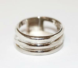 Sterling Silver 925 Polished Fancy Ribbed Band Ring Size 8.25