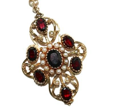 Estate 9k Yellow Gold 6.5ct Garnet Pearl Pendant Necklace 19.5""